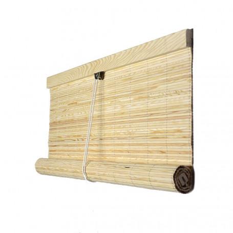 cortina esterilla de madera color natural barnizada