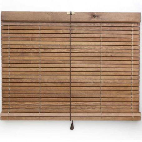 Persiana barata cadenilla alicantina de madera pino color nogal claro barnizada