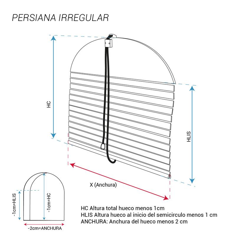 esquema persiana montante semicircular